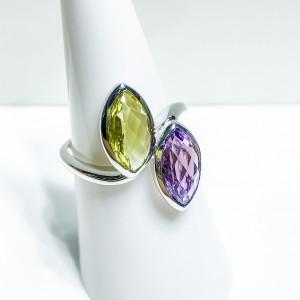 Silver Lemon Quartz and Amethyst Dress Ring