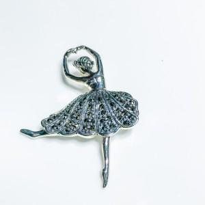 Silver Marcasite Ballerina Brooch