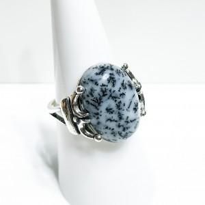 Silver Dalmatian Stone Dress Ring