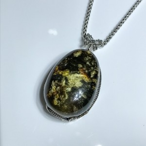 Silver Green Amber Pendant With Butterfly Top