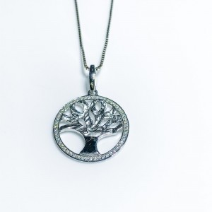 Silver cz set Tree of Life pendant