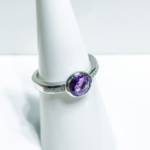 Silver Amethyst and CZ Dress Ring