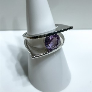 Silver Amethyst Modern Dress Ring