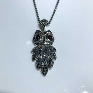 Silver Garnet and Marcasite Owl pendant