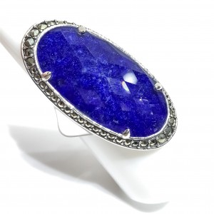 Silver large Oval Lapis Lazuli And Rock Crystal Ring Set With Marcasite Surround