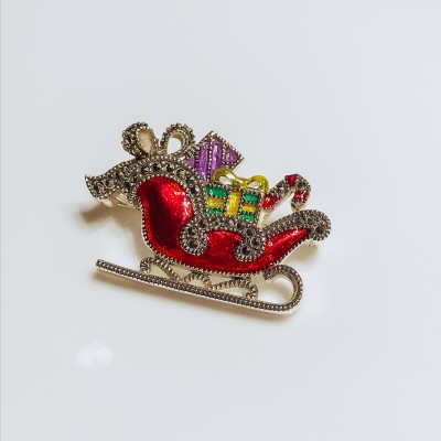 Silver Enamelled and Marcasite set Christmas Sledge Brooch