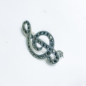 Silver Treble Clef Marcasite set Brooch