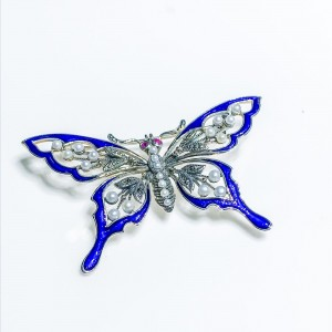Silver Enamelled Brooch with Seed pearls