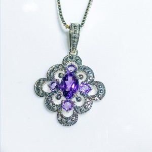 Silver Amethyst and marcasite pendant
