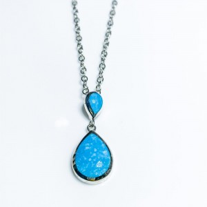 Silver double pear shaped Turquoise pendant