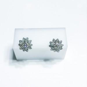 18ct White Gold Diamond Flower Stud Earrings