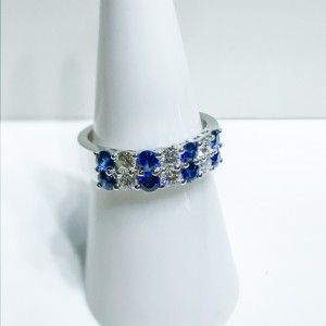 18ct White Gold Two Row Sapphire And Diamond Ring