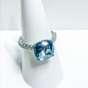 Silver Blue CZ Dress Ring