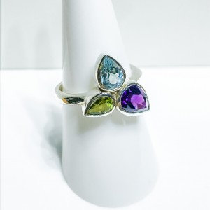Silver Triple Stone Set Dress Ring
