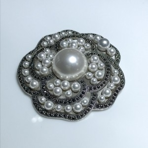 Silver Marcasite and Freshwater Pearl Brooch
