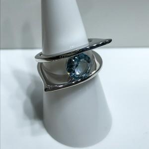 Silver Blue Topaz Modern Dress Ring