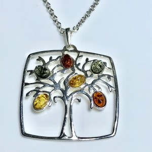 Multi Coloured Amber Tree of Life Pendant set in Silver
