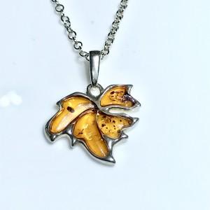 Silver Amber Maple Leaf Pendant