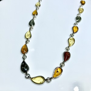 Three Colour Amber Silver Necklet