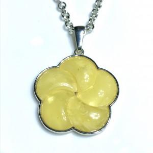 Yellow Amber Silver Pendant