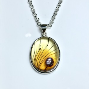 Silver Oval Amber Pendant