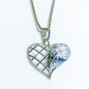 Silver Dalmatian Stone Heart Pendant