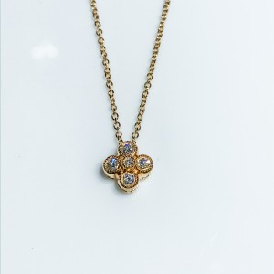 18ct Rose Gold Diamond Flower Pendant With Chain