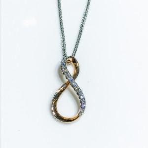 18ct Rose gold diamond infinity pendant