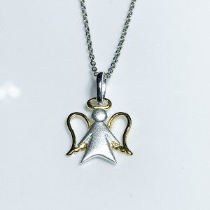 Silver Angel Pendant With Gold Plated Wings