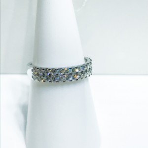 18ct White Gold Two Row Diamond Ring